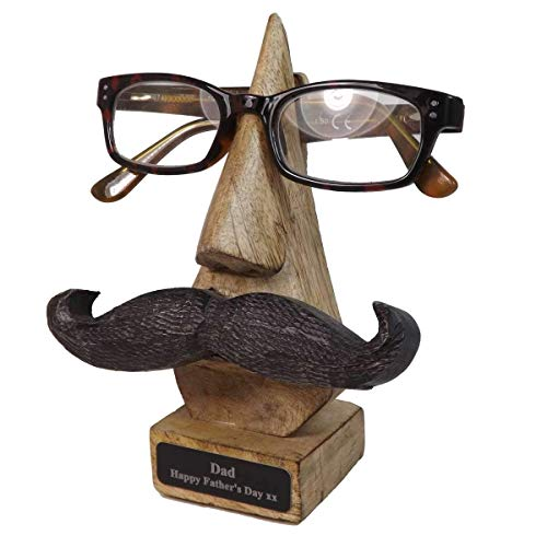 Personalised Moustache Glasses/Spectical Holder/Stand Ideal Mens Gift for Birthdays & Anniversaries