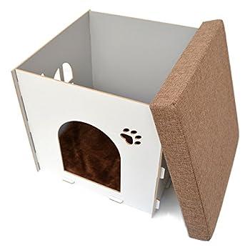 Eyepower Niche à Chien Dôme pour Chat 41x41x41cm Taille Moyenne M Maison boîte carrée avec Couvercle rembourré pour s'asseoir Repose-Pied Blanc