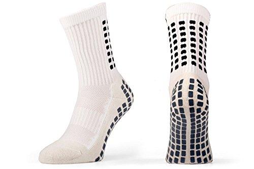 Rutschfeste Fußball Socken, rutschfeste Sport Socken, Gummi-Pads, trusox/tocksox Style, Top Qualität, Basketball, Fußball, Wandern, Laufen, hier in weiß, schwarz, rot, blau Weiß weiß UK 5.5 - 11