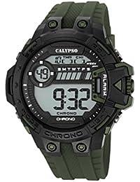 Calypso Hombre Reloj digital con pantalla LCD Pantalla Digital Dial y correa de plástico verde k5696/6