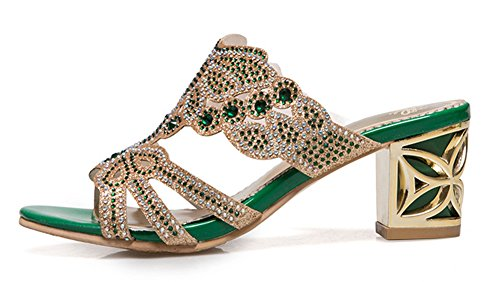 Easemax Femme Brillant Bout Ouvert Strass Chunky Mules Vert