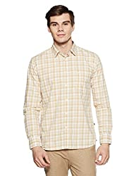 Parx Mens Checkered Slim Fit Casual Shirt (XMSS07883-F2_44_Light Fawn)
