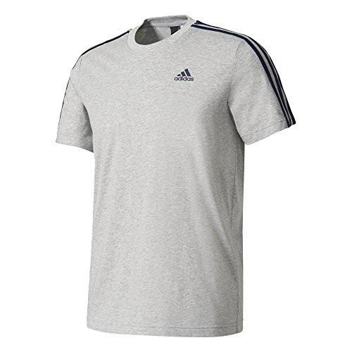 Adidas - maglietta ess 3s tee, uomo, uomo, essentials 3 stripes tee, grigio erica medio, xs