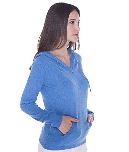 100% Kaschmir V-Ausschnitt Kordelzug Hoodie Pullover für Frauen - von CASHMERE 4 U (Small, Azure(Azurblau)) - 2