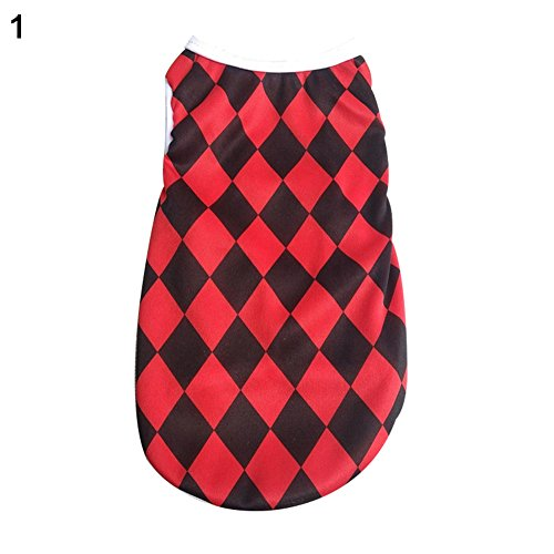 AxssjS Mode Welpen Pudel Sommer Gittermuster Weste Shirt Kleidung Outfits Hund Lieferungen 1# M
