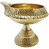 LotusFeet Spirituality Traditional Brass Kubera Vilakku With Stand/Traditional Puja Diya Lamp With Stand/Pooja Lamp