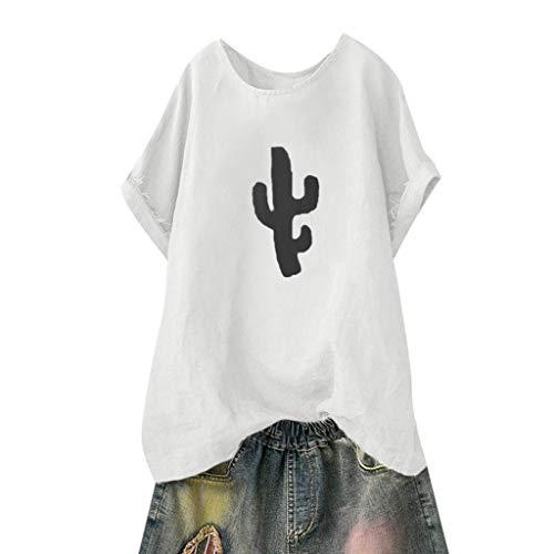 Kviklo Deman Plus Size T-Shirt Top Fish BoneCactus Druck Mode Einfarbig Loose Bluse Oversize(46,Weiß-Kaktus) -
