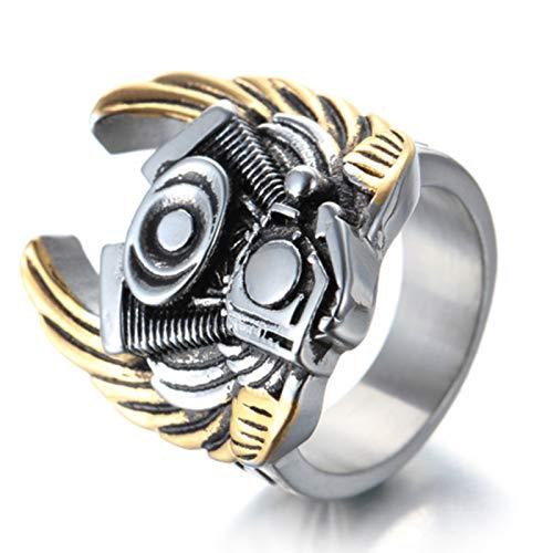 Amody Herren Vintage Gothic Biker Edelstahlringe Punk Rock Evil Wing Ring Motor Gold Herren Punk Ring Größe 65 (20.7) -