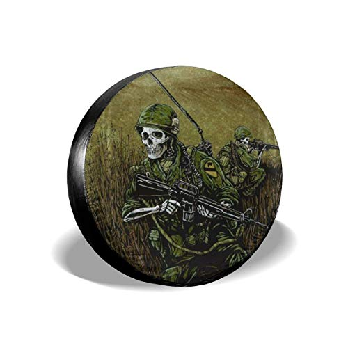 Protezione della Ruota Car Tire Cover Sunscreen Protective Cover David Lozeau 1st Air Cav Water Proof Universal Spare Wheel Tire Cover Fit for Trailer, RV, SUV And Various Vehicles