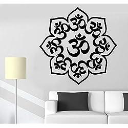 Pegatinas de Pared de decoración para el hogar Especial Mandala Buddha Chakra Vinilo de meditación Pegatinas de Pared del Cartel Pegatinas de Cocina 56 * 56 cm