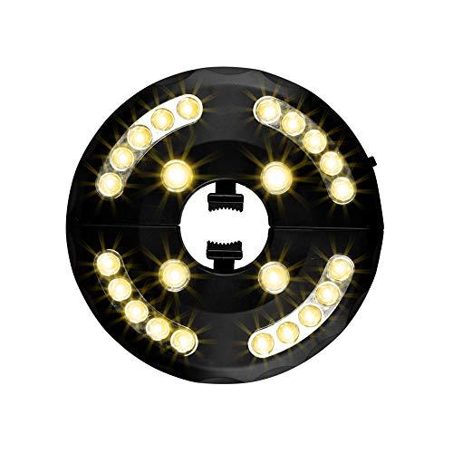Usmascot Patio-Regenschirm-Licht, Warm Weiß 3 Helligkeitsmodi 24 LED-Lichter, 4 x AA-Batterien Betrieben, Sonnenschirmbeleuchtung-Licht, Campingzelte oder Außenbereich (Warm)