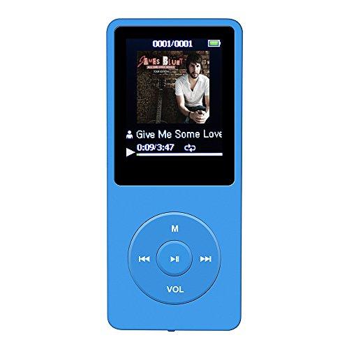 AGPTek 70 Stunden Wiedergabe 1,8″ MP3-Player Music Player 8GB Speicherkapazität, blau