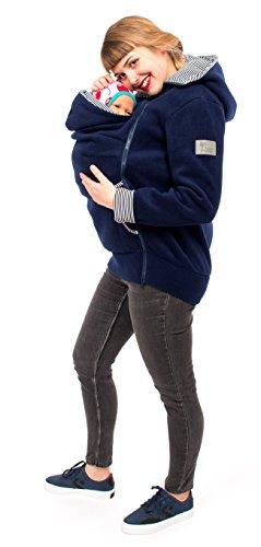 Viva la Mama Damen Tragejacke Fleece Winterjacke Mama Baby Fleecepullover für Tragetuch Umstandsjacke - AHOI Marine blau Streifen - XXL - 2