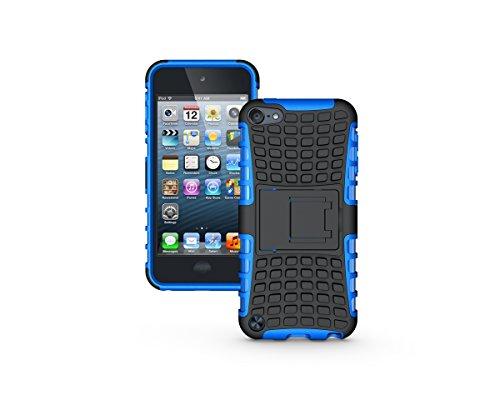 Apple iPod Touch 5 / Touch 6 Kasten, CaseFirst Reifenstreifen Hybrid Combo Shockproof Rüstung Robuste Dual Layer Case Cover mit Kickstand für Apple iPod Touch 5 / Touch 6 (Blau)
