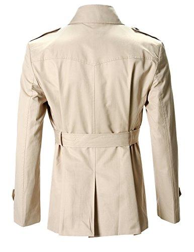 FLATSEVEN Herren Slim Fit Designer Lässige Trench Coat Beige