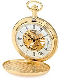 Charles-Hubert Paris 3909-G Gold-Plated Brass Hunter Case Mechanical Pocket Watch