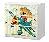 Set Möbelaufkleber für Ikea Kommode MALM 3 Fächer/Schubladen Kinderzimmer Cartoon Flugzeug Bär Kat2 Himmel Junge Propeller Flug ML3 Aufkleber Möbelfolie sticker (Ohne Möbel) Folie 25C2585