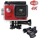 ZIHENGUO SJ4000 WiFi Action-Kamera 2,0-Zoll-LCD-Bildschirm 1080P HD Tauchen 30M Wasserdichte Mini-Camcorder-Sport-DV-Antenne-Camcorder-Fahrrecorder,Red