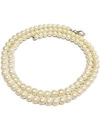 Clearance Collier Femme en Métal Blanc avec Perle Synthétique, Cm 75, 70 Grammes