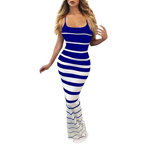 ITISME Damen Ärmelloses Beiläufiges Strandkleid Sommerkleid Trägerlosen Mantel Party Kleid Langes Kleid (S, Blau)