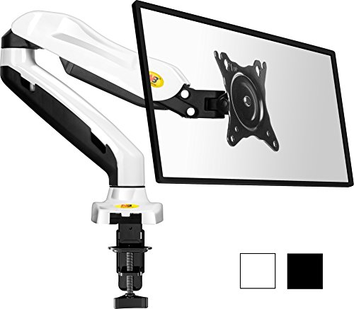 StandMounts Full Motion Desk Mount Bracket arm for Computer Monitors 17'' - 27 LED LCD Flat Panel TVs from 4.4 lbs upto 14.3 lbs with Gas Spring F80 White