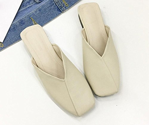 Mlle Xia Ji sandales Baotou et pantoufles chaussures à talons bas nonne sauvage chaussures de grand-mère White