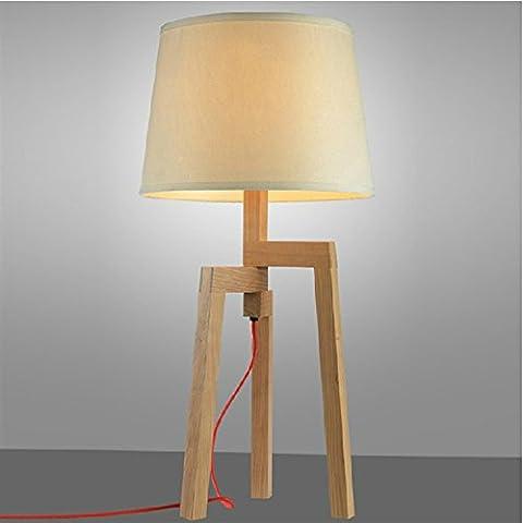 LLYY-Decorazioni in stile cinese decorazione domestica e personalità creativa in legno tavolo Lampade comodino tinta legno camera da letto lampada da tavolo-LYA