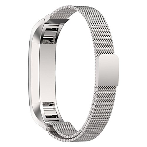 Fitbit-Alta-Bands-with-Unique-Magnet-Lock-PUGO-TOP-Milanese-Loop-Stainless-Steel-Bracelet-Strap-Band-for-Fitbit-Alta-Smart-Watch-No-Buckle-Needed-Silver