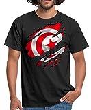 Spreadshirt Drapeau De La Tunisie T-shirt Homme, L, noir