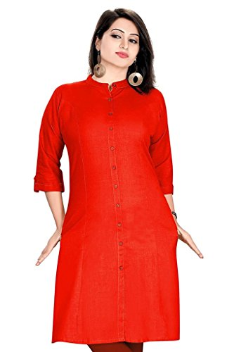 SATRAT's Women Girls Casual Regular Long Knee Length Red Colour Cotton Kurti...