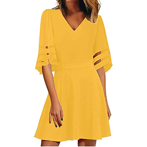 Eleganti plain abiti sundress donna 3/4 maniche con scollo a v vestito estivo da spiaggia sexy da vestito in filato netto semplice abito camicia di base vestitini tulle abiti donna abito taglie forti