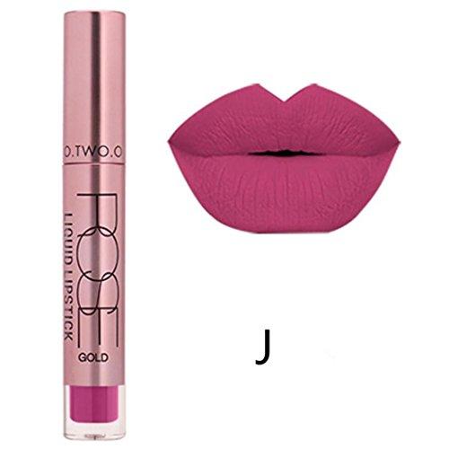 Familizo Gloss Matte Lot, Lèvres Mates Douces Liquides Gloss Lipstick Cosmetics 12 Couleurs (J, Taille: 11*2 *2 cm)