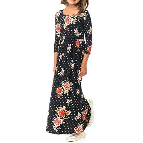 Amoyl Kleider Mädchen Langarm Floral Dot Party Strandkleider -