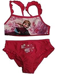 Disney Bañador 2 Piezas Bikini Infantil Frozen niñas con Adornos de Volantes en Tirantes y en culetín