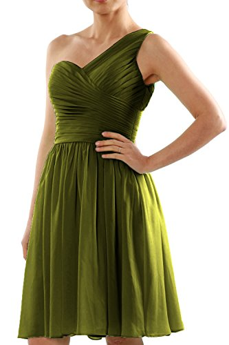 MACloth Women One Shoulder Short Chiffon Wedding Bridesmaid Dress Made-to-Order Olive Green