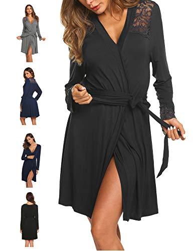 Morgenmantel Bademantel Damen Kurz Nachtwäsche Sexy Robe Pyjama Reisemantel mit Spitzen V Ausschnitt für Schwangere Mollige -
