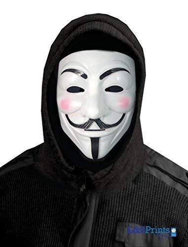 L&S PRINTS FOAM DESIGNS Halloween Weiß Face Design Novelty Fun Stoff Face Maske Neckwarmer hergestellt in Yorkshire