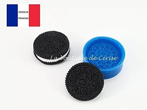 Moule silicone gateau biscuit style oréo pour fimo, pâte à modeler, resine, porcelaine froide