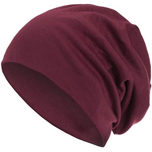 style3 Warme Herbst Winter Slouch Beanie XXL aus atmungsaktivem, feinem und leichten Jersey Unisex Mütze Wintermütze One Size, Farbe:Weinrot -