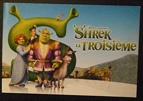Dossier de presse de Shrek le troisième (2007), film réalisé par Chris Miller (III), Raman Hui avec Alain Chabat, Med Hondo, Barbara Tissier, etc. – Agrafé, format à l'italienne 27 cm x 18 cm, 36 pages avec ills couleurs - Etat neuf. par Chris Miller