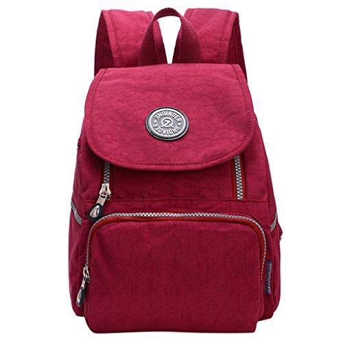 Sharplace Donne Borse Sacchetto Da Viaggio Sport Zaino Casual In Nylon Impermeabile - Rosa Rosso Vino