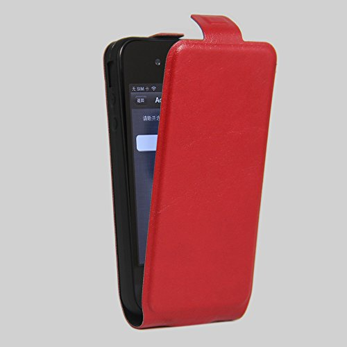 Owbb® PU Ledertasche oberen und unteren offenen im Bookstyle für iphone 4S Smartphone Case Cover Wallet Standfunktion mit Kartenfächer Bargeld Aussparrung-Pink Rot