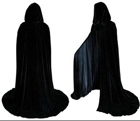 Length 2M Halloween Unisex Long Velvet Black Hooded Cloak Cape Deluxe Vampire Fancy Dress