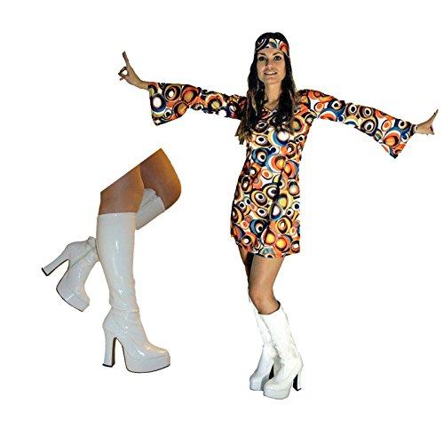 Hippie Kleid Kostüm Chick - sowest 60er 70er Kostüm Swirl Flower Power Hippy Hippie Retro Stiefel
