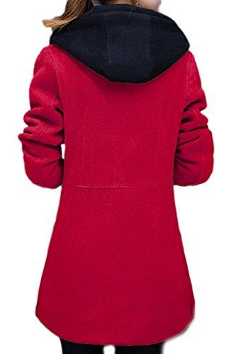 Damen Casual Pelz Oberbekleidung Wollmantel mit Taschen Red