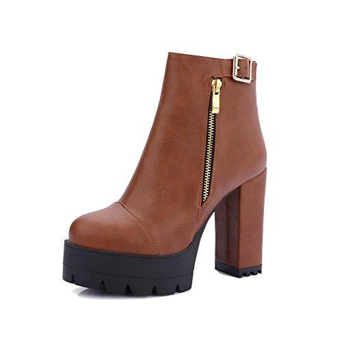 AgooLar Damen Rein Hoher Absatz Schließen Zehe Weiches Material Reißverschluss Stiefel, Schwarz, 37
