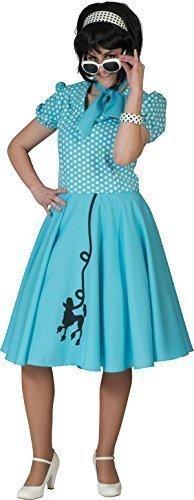 Damen 1950er Rock And Roll Top Fancy Gepunktet Pudel Kleid Party Outfit - Blau, (Rock Kostüm Pudel Blauer)
