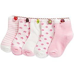 Niños Niñas Calcetines de Algodón Cómodo Suave Elasticity Absorber el Sudor primavera verano otoño Color Rosa 1-3 año ( Pack de 5 Pares)