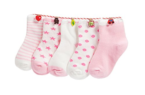 Baby Kinder Socken 5 in 1 Set Jugendliche Stricksocke Verdickender Herbst und Winter Jungen Mädchen Baumwolle Bunt Elastisch Weich- Gr.S (0-12 Monate), Rosa (Winter-socken Für Mädchen)