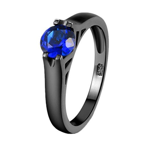 Bernstein Kristall Gold Leaf (Santimon Damen Ringe Schwarz Gold Hinreißend Temperament Ringe Gesetzt Blau Saphir Kristall Ring Hochzeitringe Verlobung Für Frauen 7)